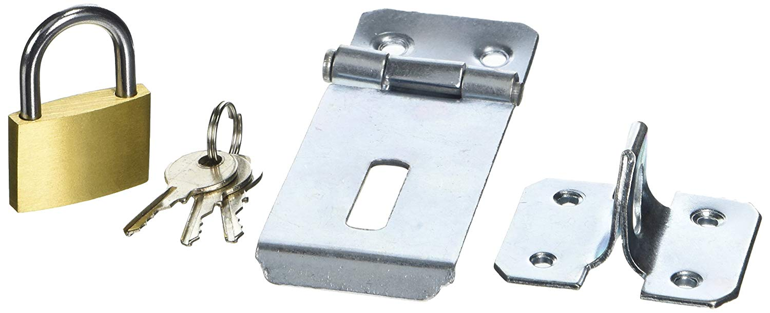 Bulk Hardware BH05816 Safety Hasp/Staple Galvanised Complete with Brass Padlock, 75 mm (3 inch)