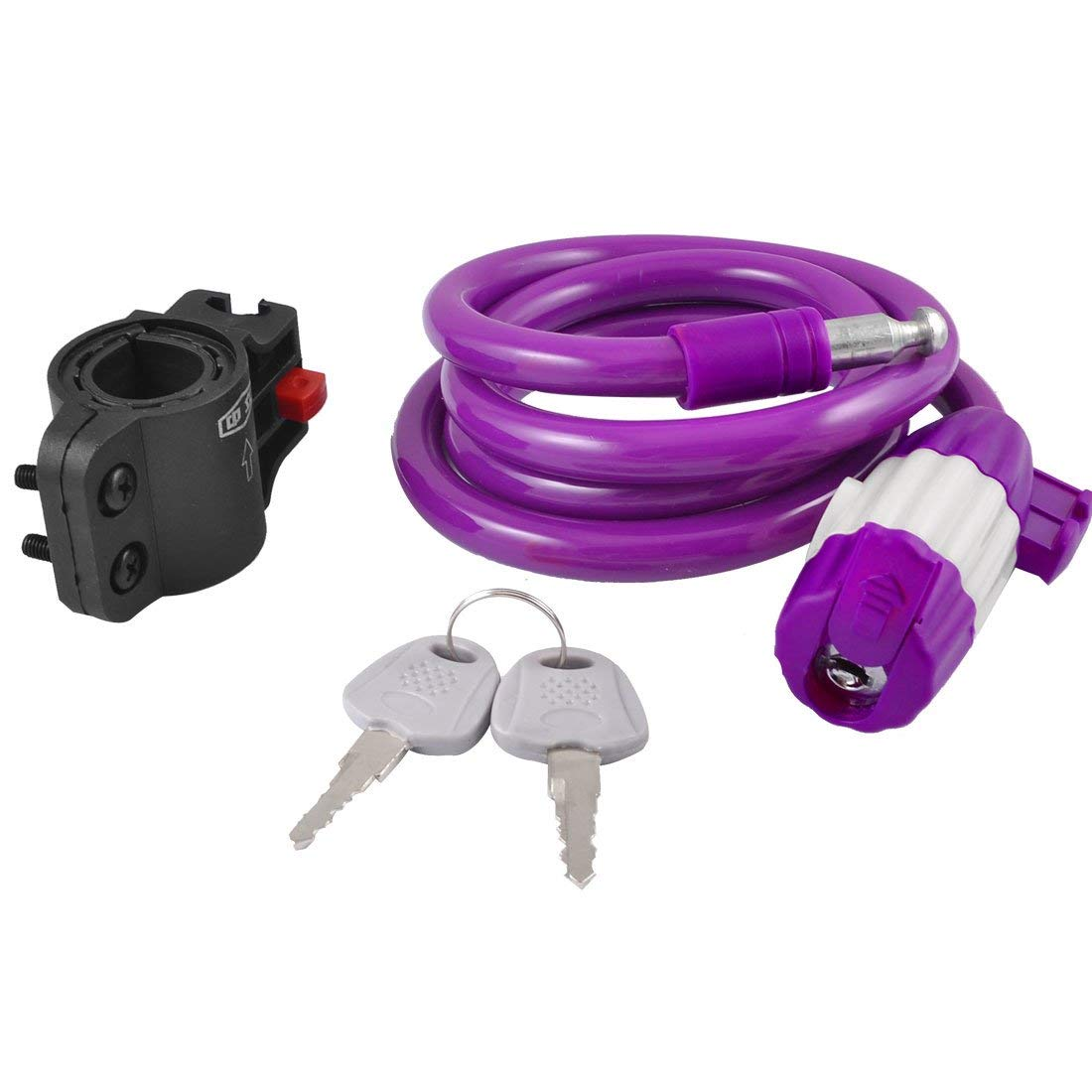 Aexit 3.9Ft 1.2m Bike Locks Purple Bike Motorcycle Safety Steel Wire Coiled Spiral Cable Lock U-Locks w Bracket