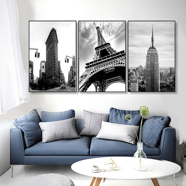 High building Eiffel tower black and white oil painting Paris 3D Wall Framed  Art Decor