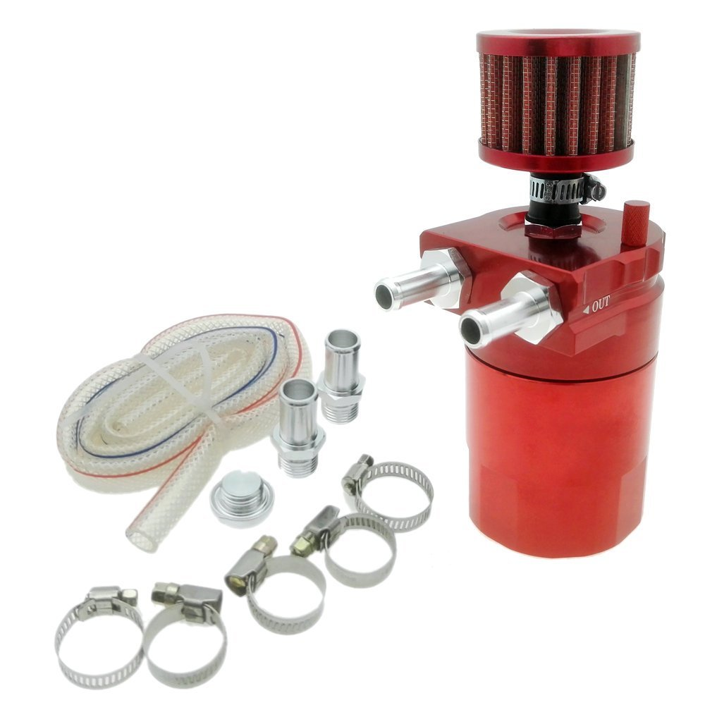 Heinmo New Universal Aluminum Engine Oil Catch Can With Breather Filter (Red)