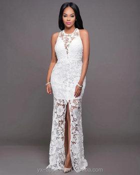 2543dca76a3 Горячая распродажа дешевые белые элегантные невесты кружева длинное платье  Коктейль Макси bodycon платья