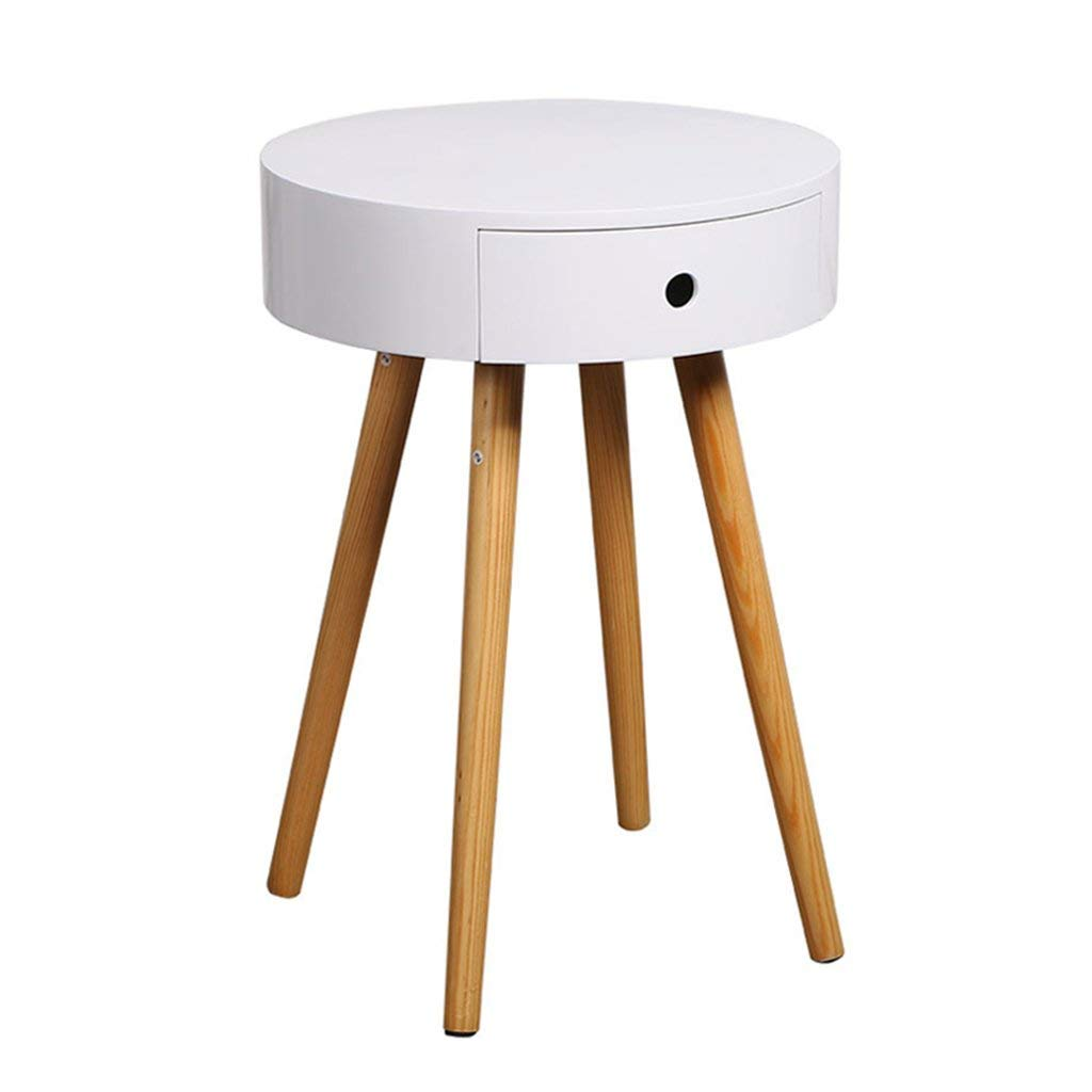 Coffee Tables Bedside table bedside round cupboard mini table round table tea table coffee table tea table sofa table Nordic style solid wood legs ( Color : White , Size : 39.539.556.6cm )