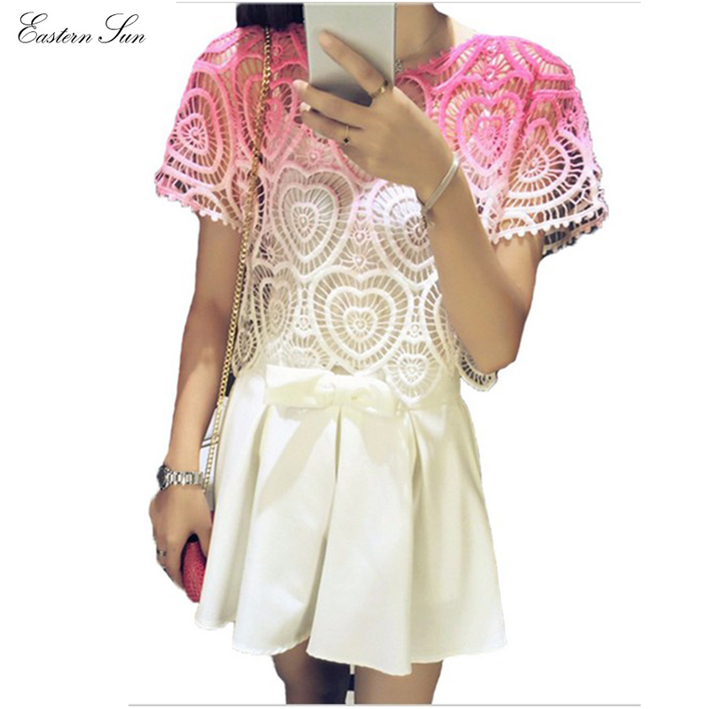 ef69566c40d Women Blouses 2015 Summer Style Hollow Heart Cut Crochet Blouse Plus Size  Shirt