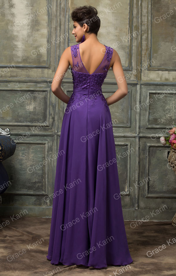 c31f06c377e839 Elegant Avondjurk Grace Karin Long A-Line Vestido Chiffon Sleeveless ...