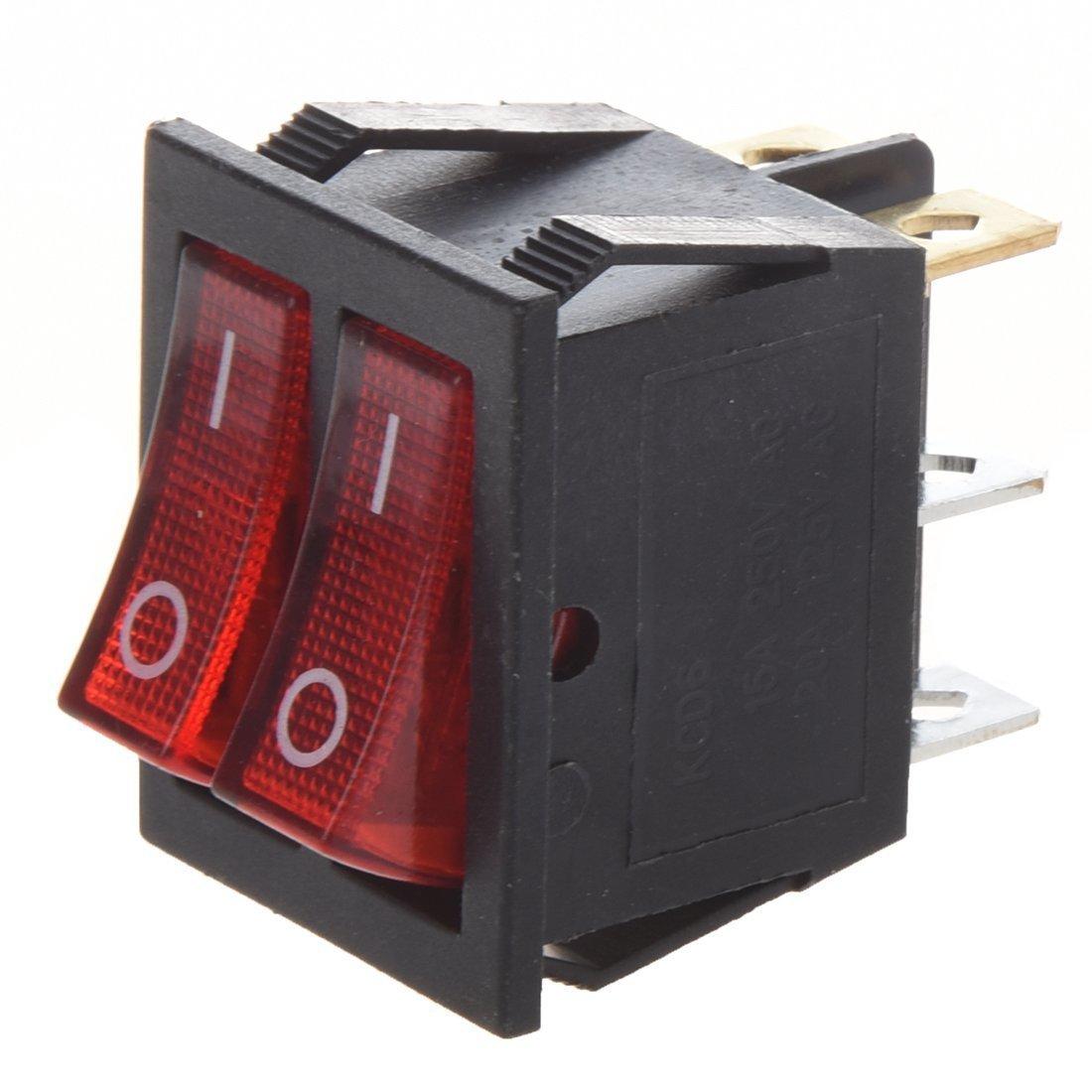 TOOGOO(R) Red Light Illuminated 6 Pin Dual SPST ON/OFF Boat Rocker Switch AC 15A/250V 20A/125V
