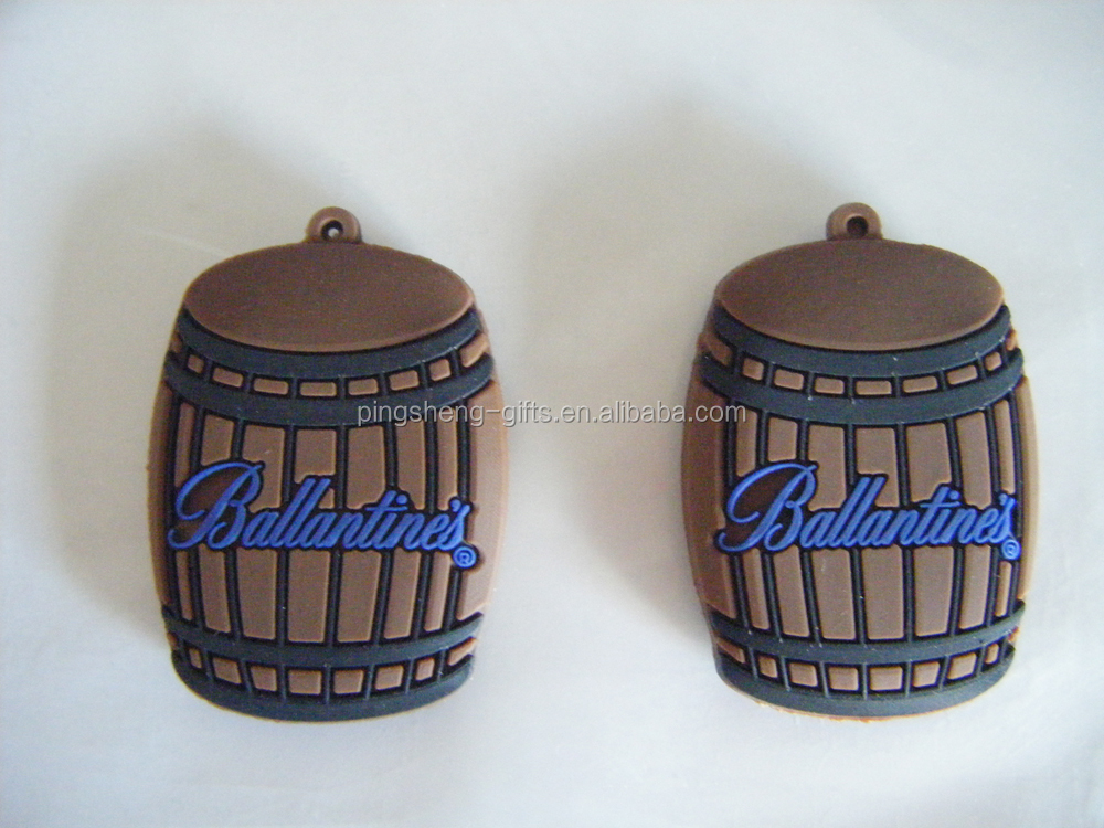 2D simple Beer barrel keyring