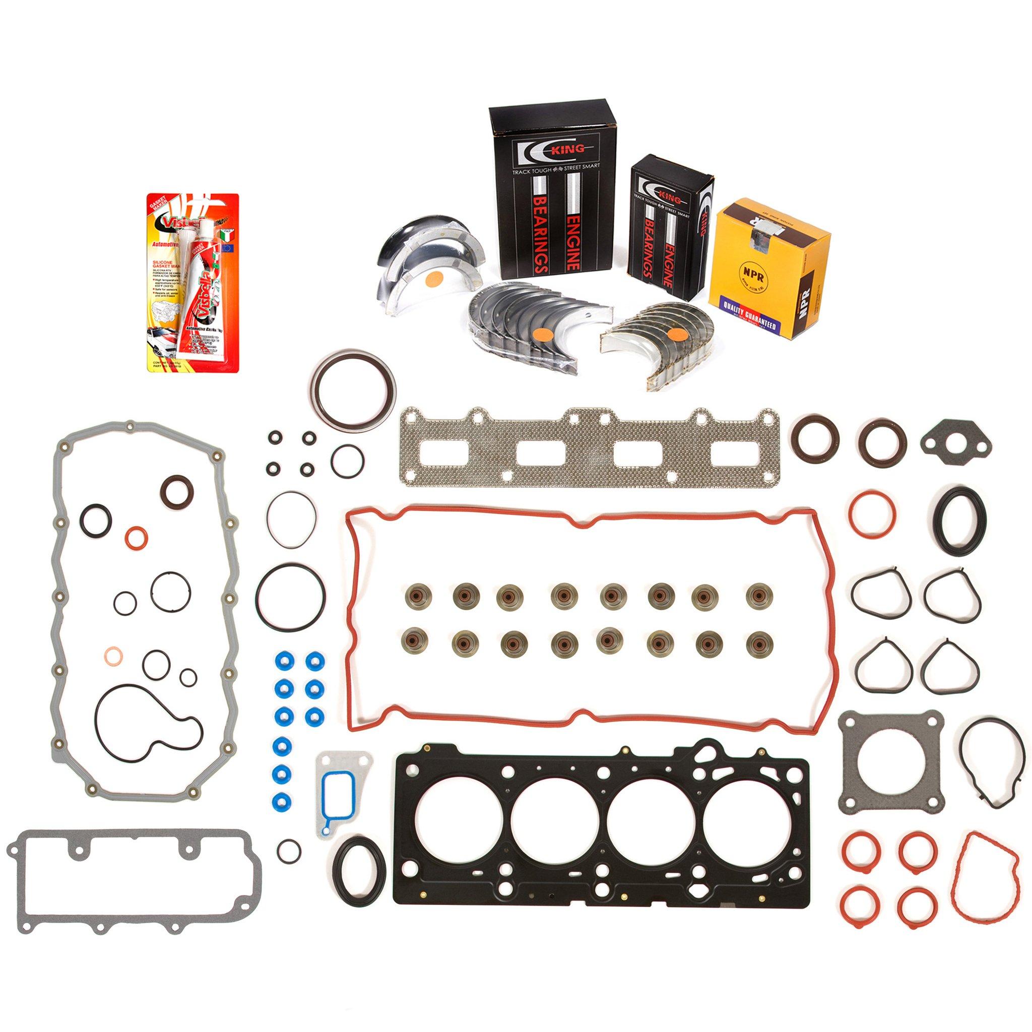 Domestic Gaskets Engine Rering Kit FSBRR8-30105\0\0\0 05-08 Dodge Chrysler 2.4 DOHC VIN J, X Full Gasket Set, Standard Size Main Rod Bearings, Standard Size Piston Rings