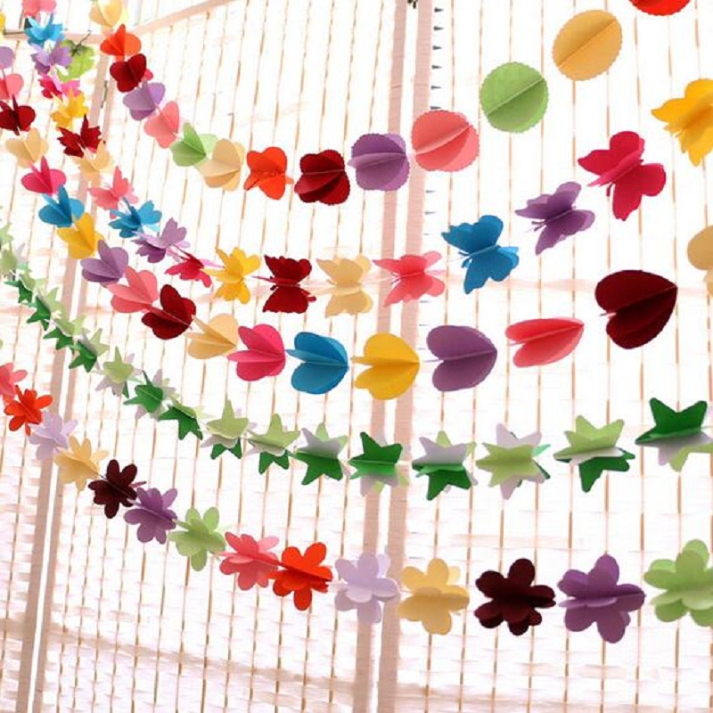 Wedding Birthday Party Decorations Banner Bunting Love Home Party Decor Butterfly Colorful Pull Flower Wedding Decoration