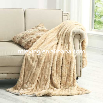 Faux Fur Throw Blanket Long Hair Knit Long Hair Synthetic Sofa Rest Bed  Chair Lunch Break