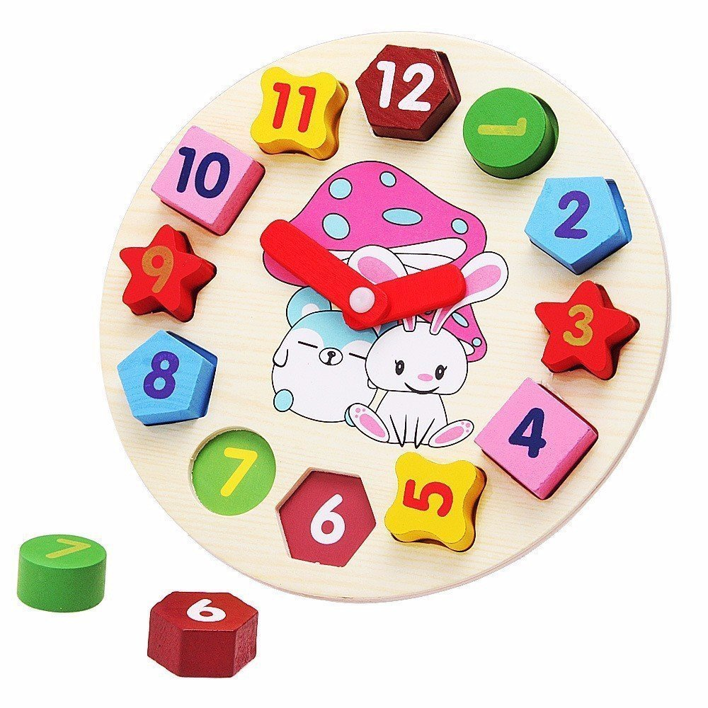 Berry President(TM) Wooden Shape Sorting Digital Geometry Clock blocks Learn to Tell Time Children's Educational Toys Counting with Numbers Puzzle for baby boy and girl Toddler