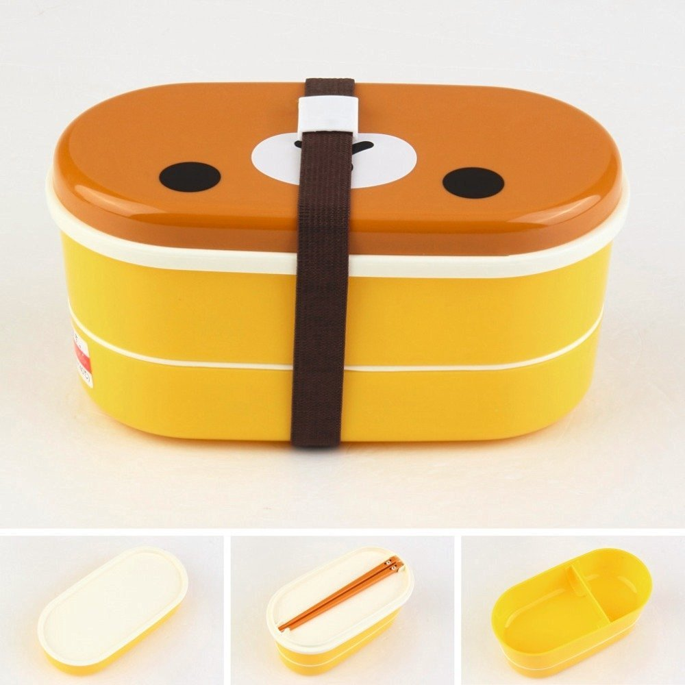 High Quality 1Set Plastic Bento Lunch Box Brown Color Microwave Rilakkuma Bento Multilayer Children Lunch Box bento box
