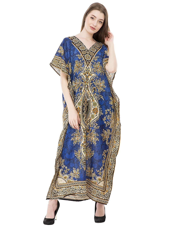bd850d4f29 Get Quotations · SKAVIJ Kaftan Dresses for Women V Neck Caftan Plus Size  Long Nightgown Cover up