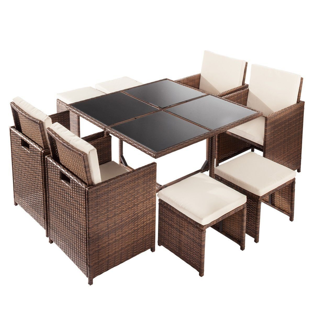 KCHEX>>9 PC Mix Brown Patio Garden Rattan Wicker Sofa Set Furniture Cushioned W/Ottoman>>with The Modern and Durable Design, This Rattan Furniture Set Will fits for Any Indoor and Outdoor Space
