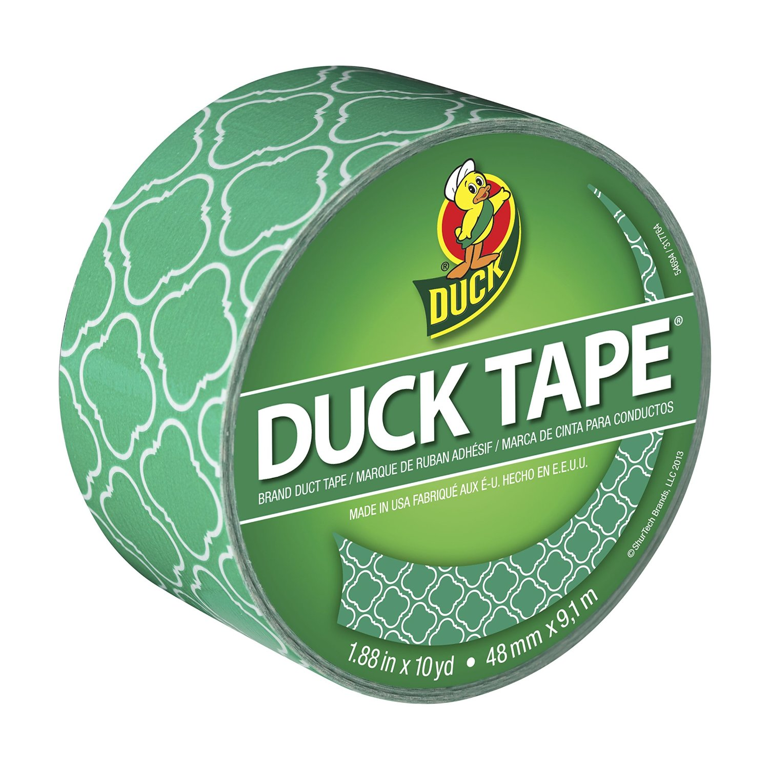 Duck Brand 282565 Printed Duct Tape, Emerald Tile, 1.88 Inches x 10 Yards, Single Roll