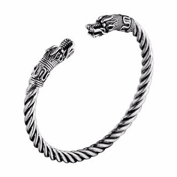 Antique Silver Gold Large Viking Dragon Head Bracelet Torc Norse Mythology Jormungandr Beast