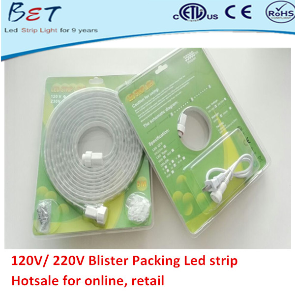 ETL CE ROHS approved 60leds per meter IP67 waterproof 5050 warm white 5m led strip blister packing ul listed stage lights