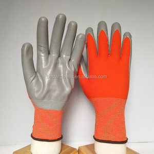 13G Nylon safety gel gloves/mittens with nitrile dipped custom logo gloves