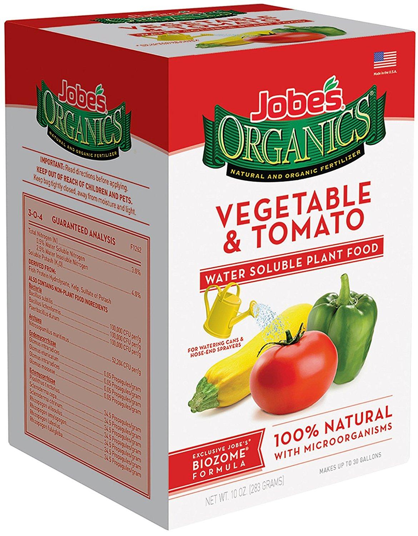 Jobe's Organics Vegetable & Tomato Fertilizer, 3-1-2 Water Soluble Plant Food Mix with Biozome, 10 oz Box Makes 30 Gallons of Organic Liquid Fertilizer