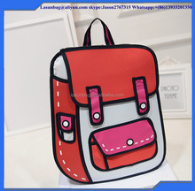 Cheap 3D Backpack Comics 2D Kids School Bags Jump from Pictures