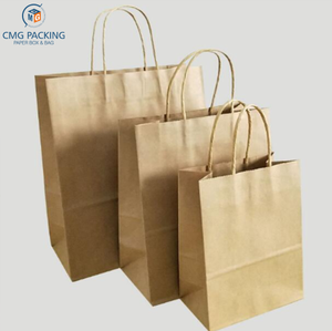 Kraft Paper Bag With Handle Recyclable Bag Fashionable Cloth Shoes Gift Paper Bags 5 Size Cowhide Color