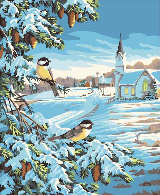 Frameless  painting by numbers diy picture oil painting on canvas for home decor animal painting winter bird
