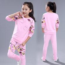 Одежда для девочек, спортивная одежда с цветочным принтом для девочек-подростков 8, 10, 12, 14 лет, 2019(Китай)