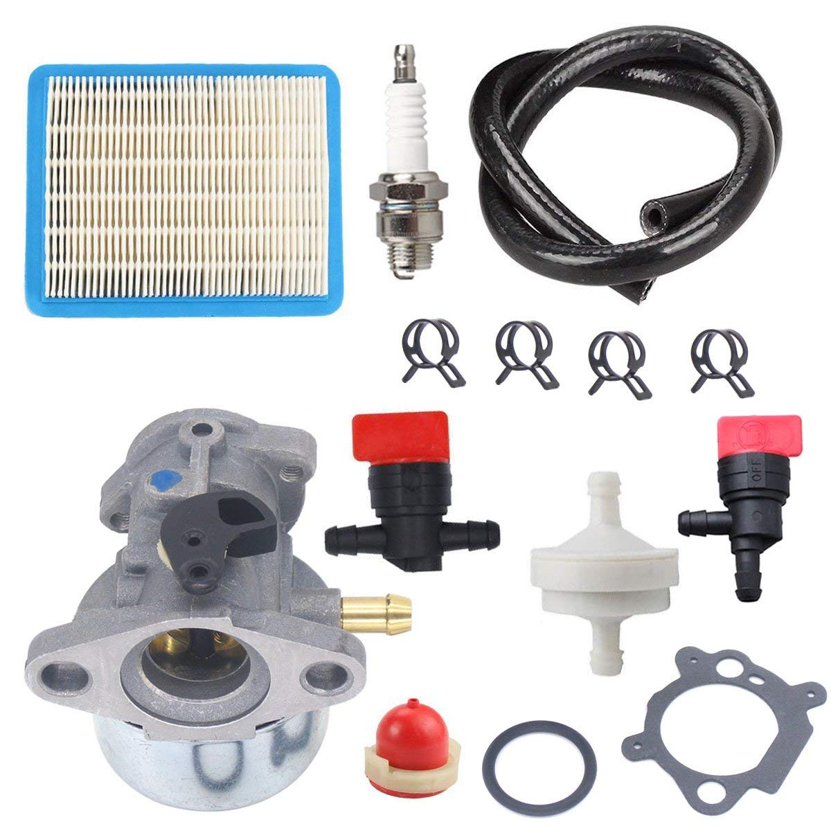 Atoparts 799868 Carburetor With 491588 Air Filter 694395 Primer Bulb 298090S Fuel Filter Shut Off Valve Fit Briggs & Stratton 4 5 6 7 Hp Engines