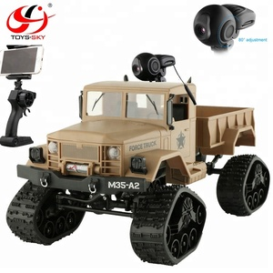4WD 1/16 Snow Tires 4 Wheel Drive Off-Road RC Military Toy Pickup truck 4x4 Climbing Car model with wifi camera front light RTR