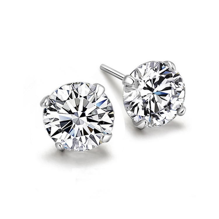 Mens Earring 925 Sterling Silver Round Black Simulated Diamond 6mm Stud