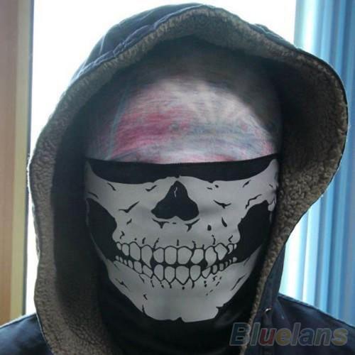 2016 Skull Bandana  Motorcycle Helmet Neck Face Mask Paintball 8NCU