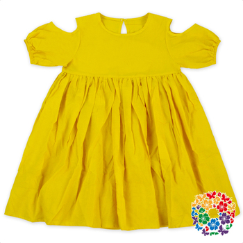 c5d90214cfda Summer Plain Yellow Girls Cotton Frock Designs Off Shoulder 3 Year Old Girl  Dress Latest Design Baby Frock - Buy Baby Frock