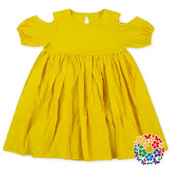16ba8adef Summer Plain Yellow Girls Cotton Frock Designs Off Shoulder 3 Year Old Girl  Dress Latest Design