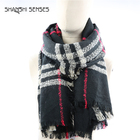 New design striped boucle check pattern scarf bufandas al por mayor