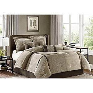 7pc Light Brown Chocolate Textured Corduroy Comforter Cal King California Set, Brown Color Adult Bedding Master Bedroom Stylish Pintuck Pattern Patchwork Elegant Themed Traditional Plush Polyester