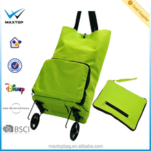 Promotional Custom Logo Foldable trolley Shopping Bag 600D Polyester two wheels BSCI
