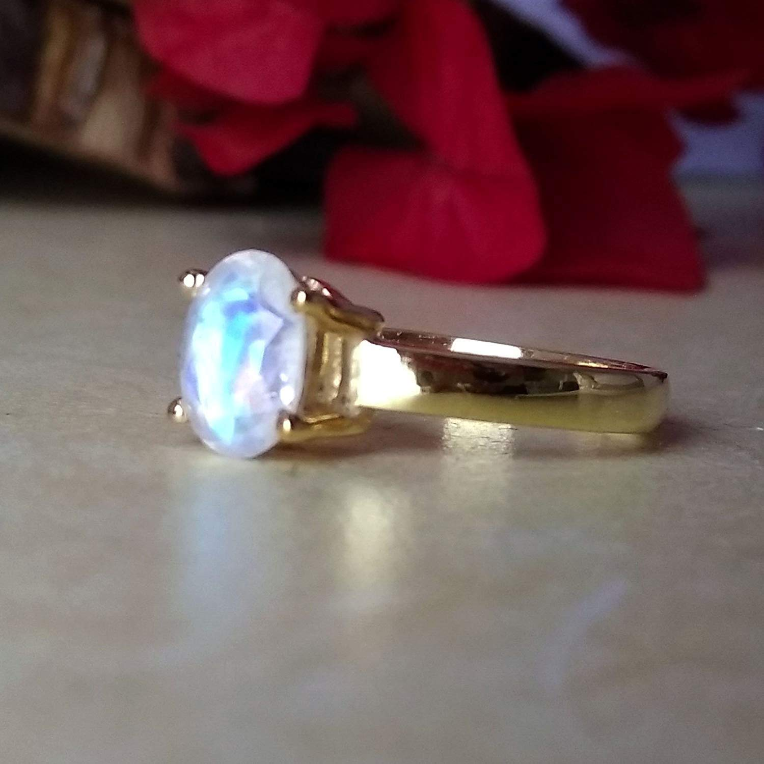 925 SILVER BLUE FIRE RAINBOW MOONSTONE JEWELRY WOMEN SOLITAIRE CHRISTMAS RING