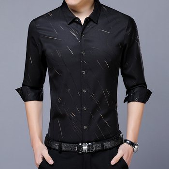 hot sale new arrival formal style young man's  custom fit long sleeve print blouse shirt