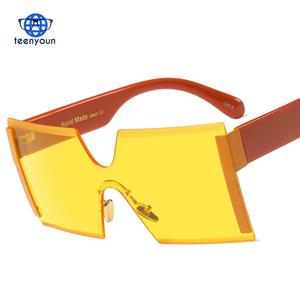 b7542158d9 2018 New Oversized Shield Sunglasses Big Frame Sexy Cool Siamese Sun Glasses  Women Gold Clear Eyewear