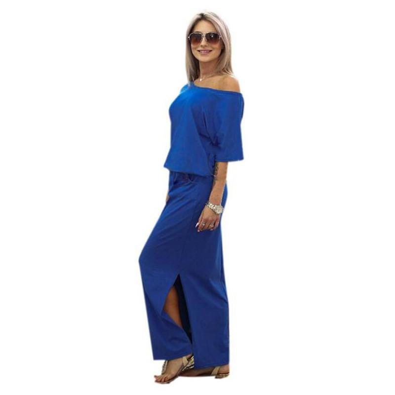 summer casual off shoulder side slit a line blue chiffon boho bohemian style long evening dress 2016