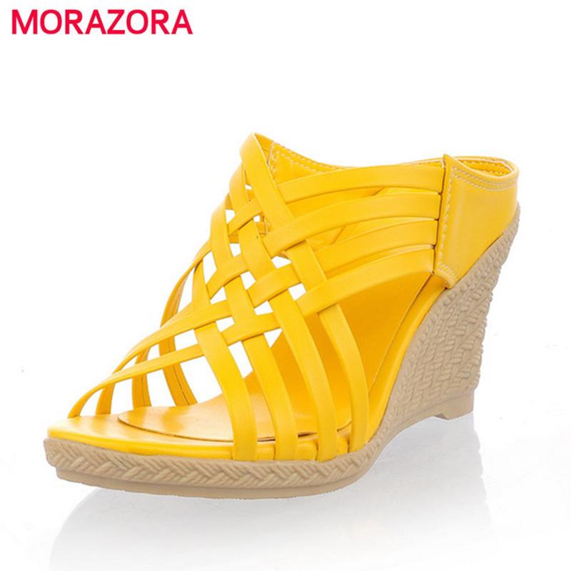 MORAZORA 2017 ladies slippers Gladiator high heels wedges ...