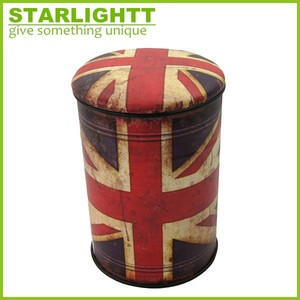 hot sale union jack pu round puff stool