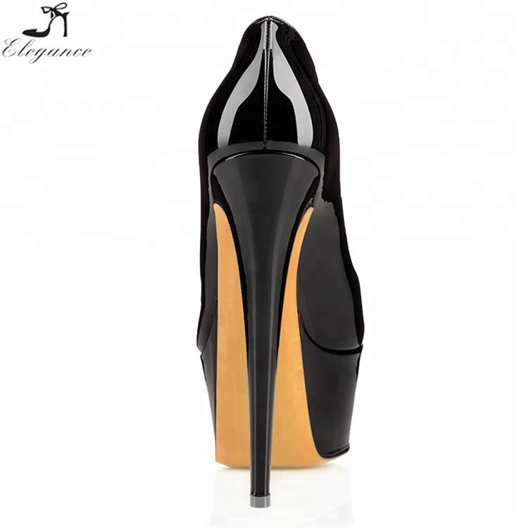 Platform Double Women Hot Pumps Fashion Night Round Club 16cm High Heels Shoes Head For Black xSSIOA