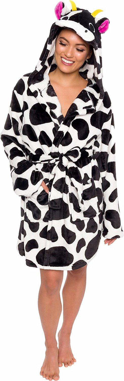 Silver Lilly Women's Animal Hooded Robe - Plush Short Cow Bathrobe