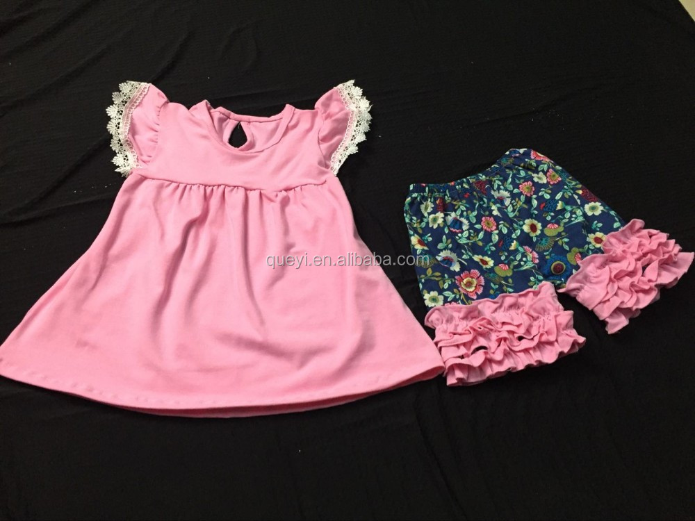 New Baby Girls Clothes Set Children Suits Summer Lace Dot Pocket ...