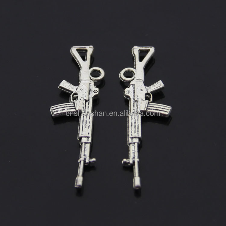 Antique silver Gun accessories wholesale custom charm 44.8x12mm