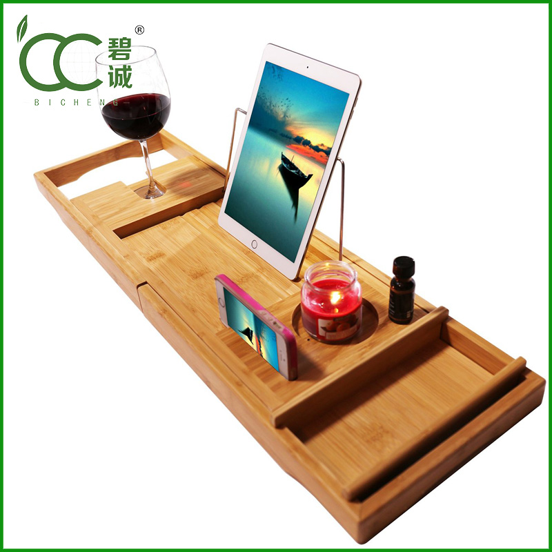 High quality Popular Design Bathtub Caddy Bamboo Bathroom Accessory Set Wholesale