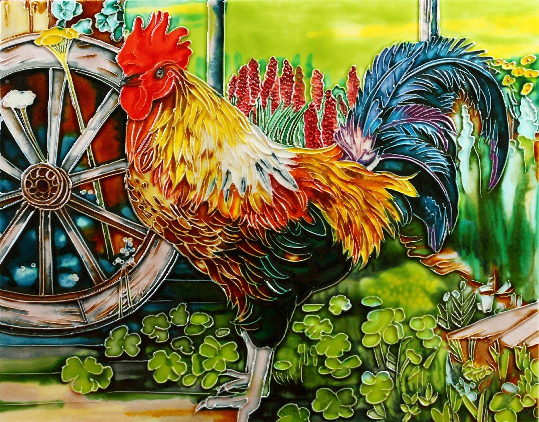 "King of the Farm – Rooster - Decorative Ceramic Art Tile - 11""x14"" En Vogue"