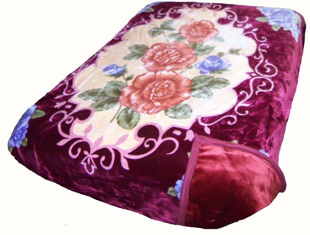 Solaron King Two-Ply Roses Mink Blanket (Burgundy)