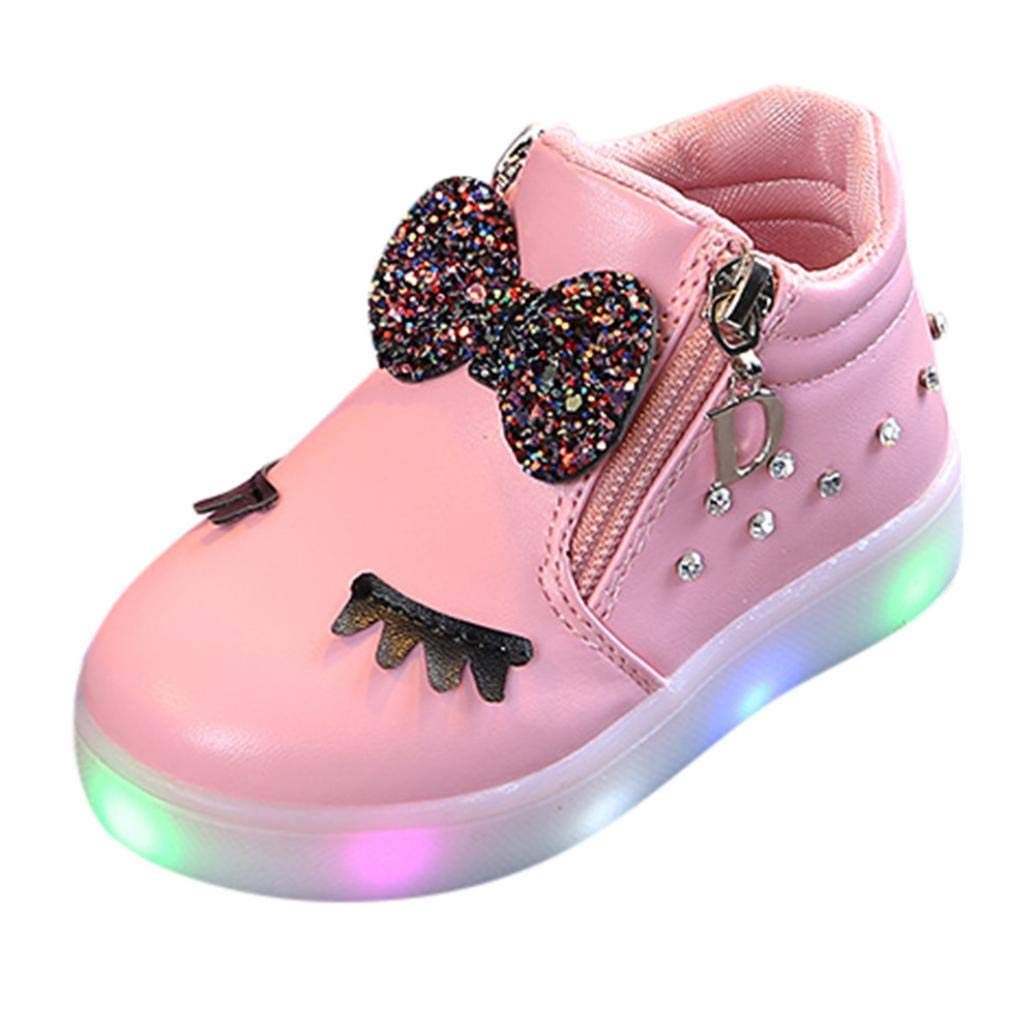Infant Kids Crystal Bowknot LED Luminous Boots, Outsta Baby Girls Sport Shoes Anti-Slip Shoes Soft Sole Sneakers (US:6.5(Age:2-2.5T), Pink)