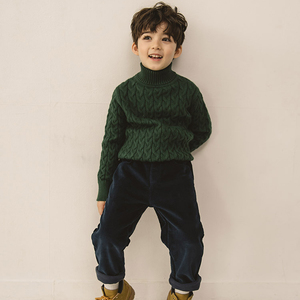 Big cable fashion computerized design baby knitted sweater